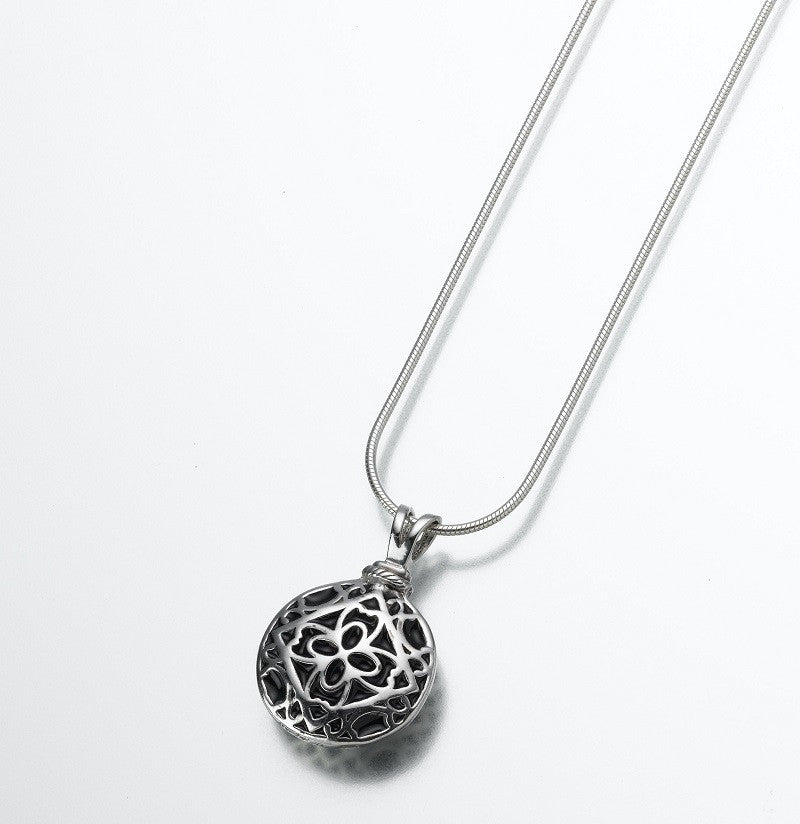 Round Filigree Ash Necklace - White Gold