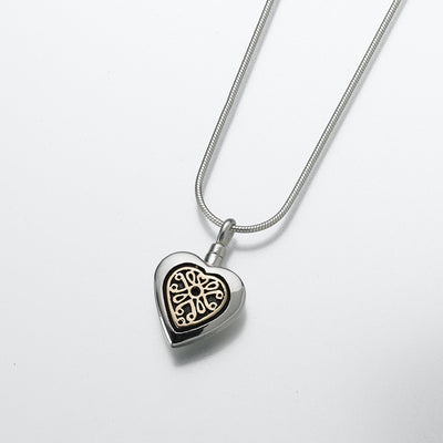 Silver Lattice Heart Cremation Pendant - 14K Gold