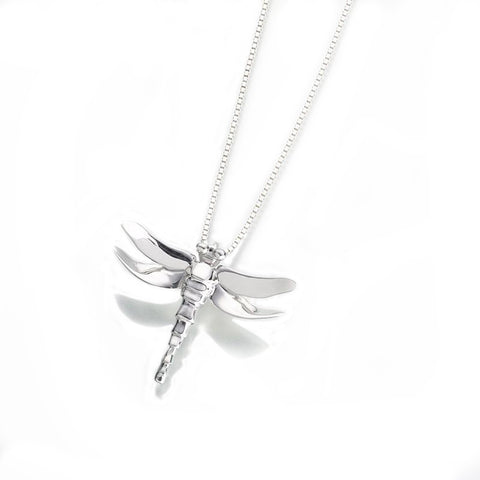 Silver Dragonfly Memorial Necklace
