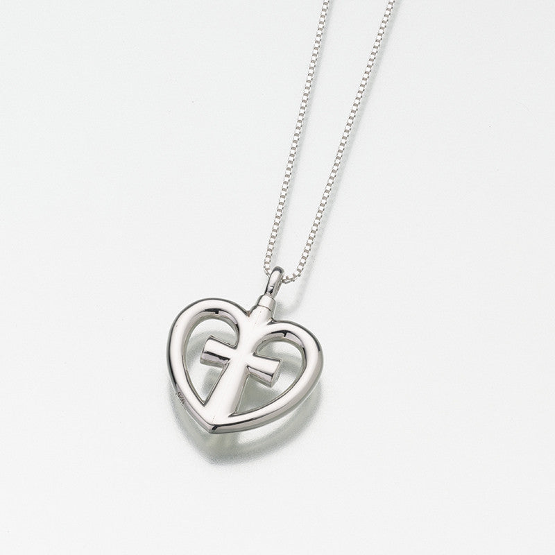 Heart and Cross Ash Necklace