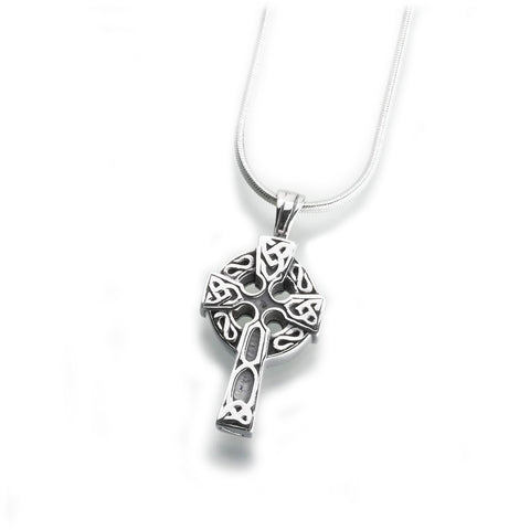 Celtic Cross Cremation Pendant - Sterling Silver