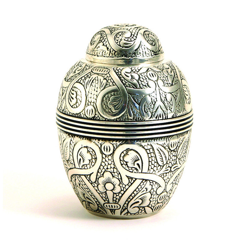 Silver Embossed Pet Urns - Medium
