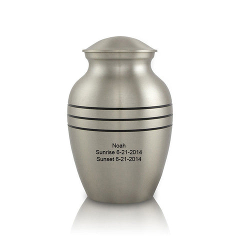 Banded Pewter Pet Cremation Urn - Small