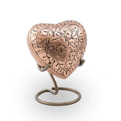 Copper Oak Cremation Keepsake Heart
