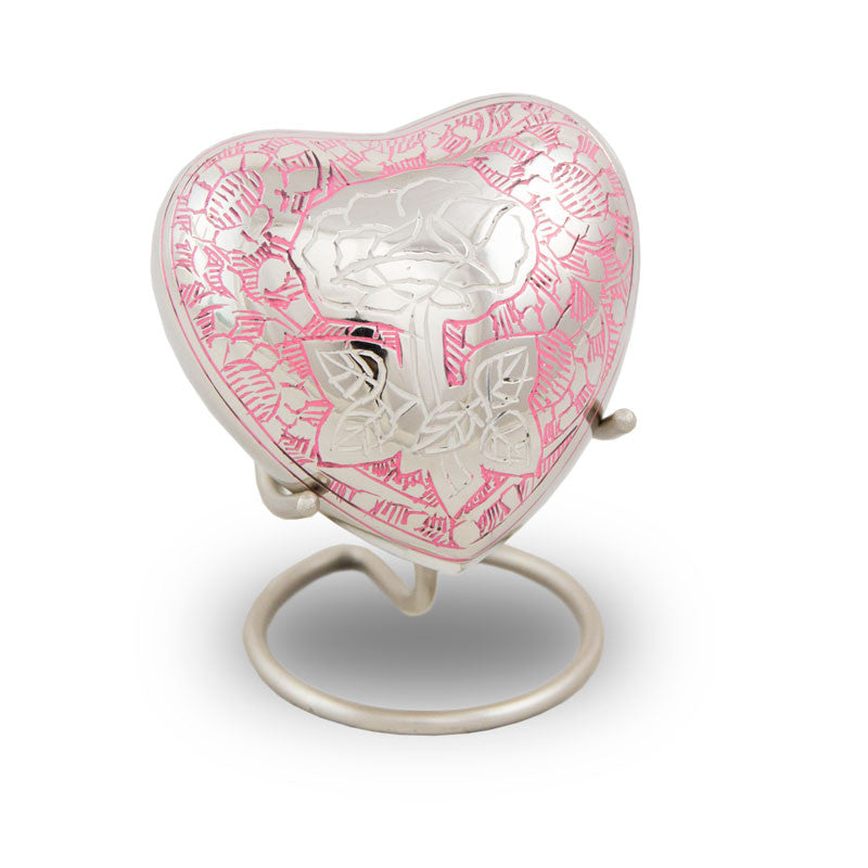 Rose Cremation Keepsake Heart