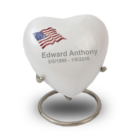 Red, White and Blue Flag Keepsake Heart