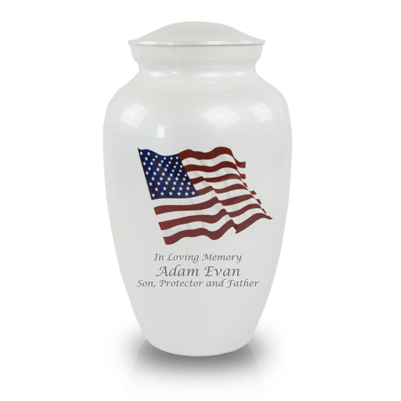 Military American Flag Bronze Cremation Urn
