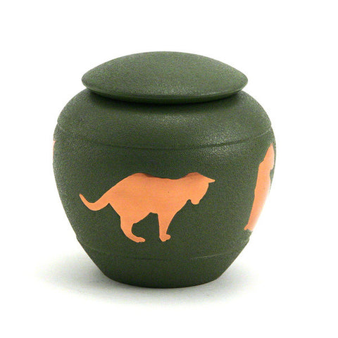 Silhouette Cat Cremation Urn - Fern