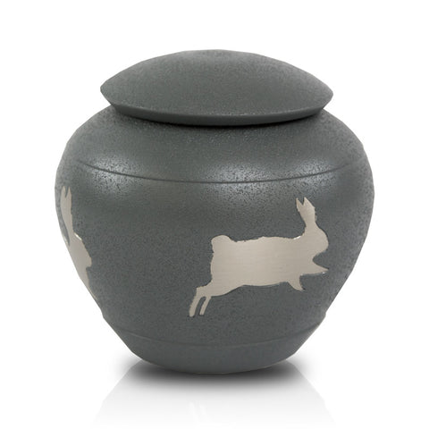 Grey Hopping Rabbit Cremation Urn