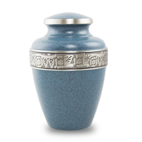 Large Brass Cremation Urn - Evening Blue