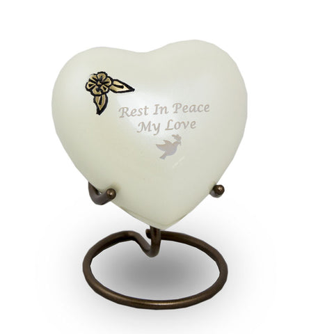 Artisan Heart Cremation Keepsake - Pearl