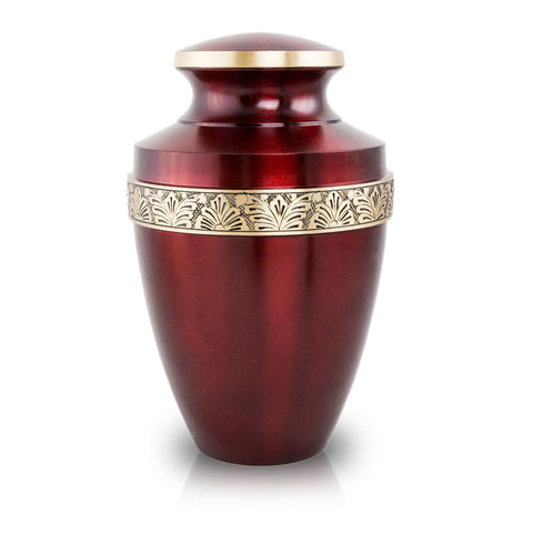 Crimson Cremation Urn with Floral Band