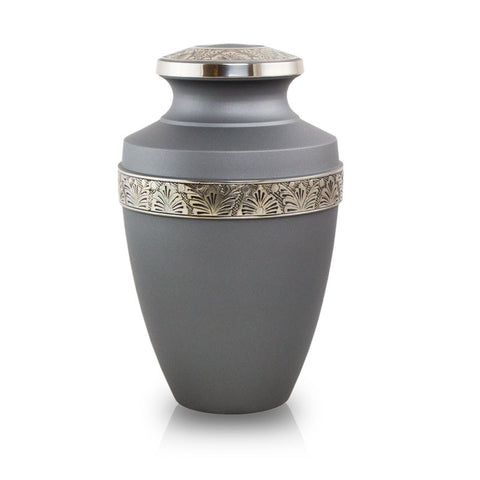 Floral Grecian Cremation Urn - Pewter