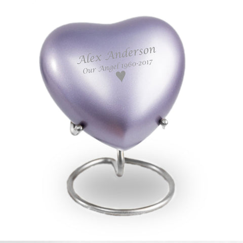 Lineas Lilac Cremation Keepsake Heart