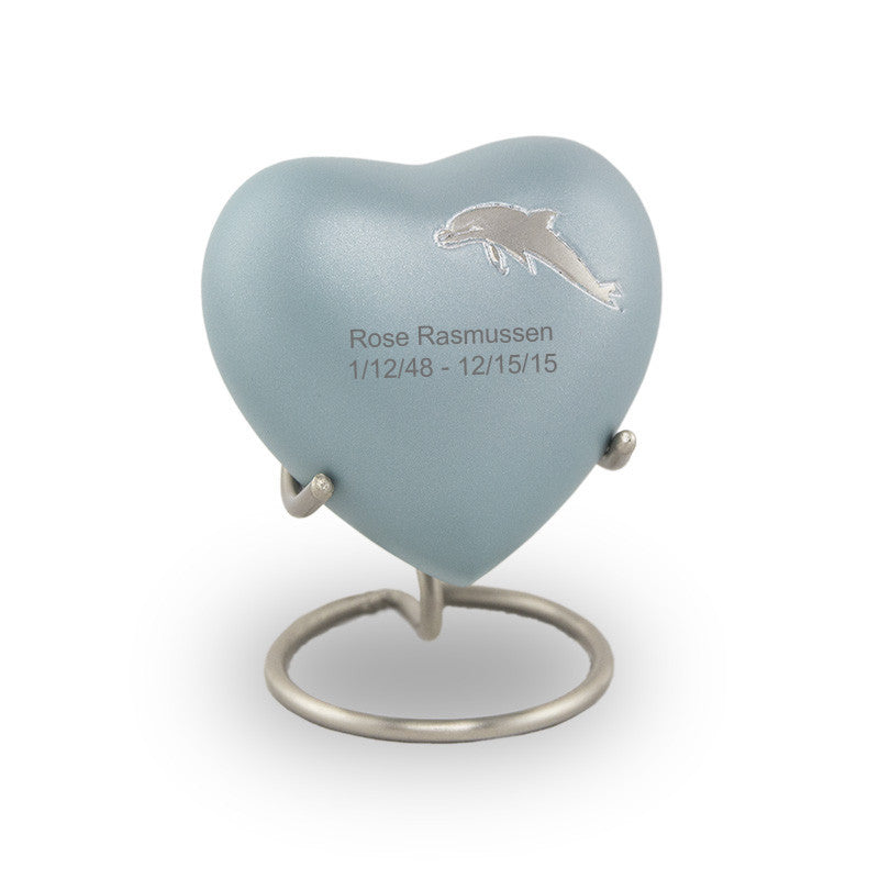 Aria Dolphin Heart Cremation Keepsake