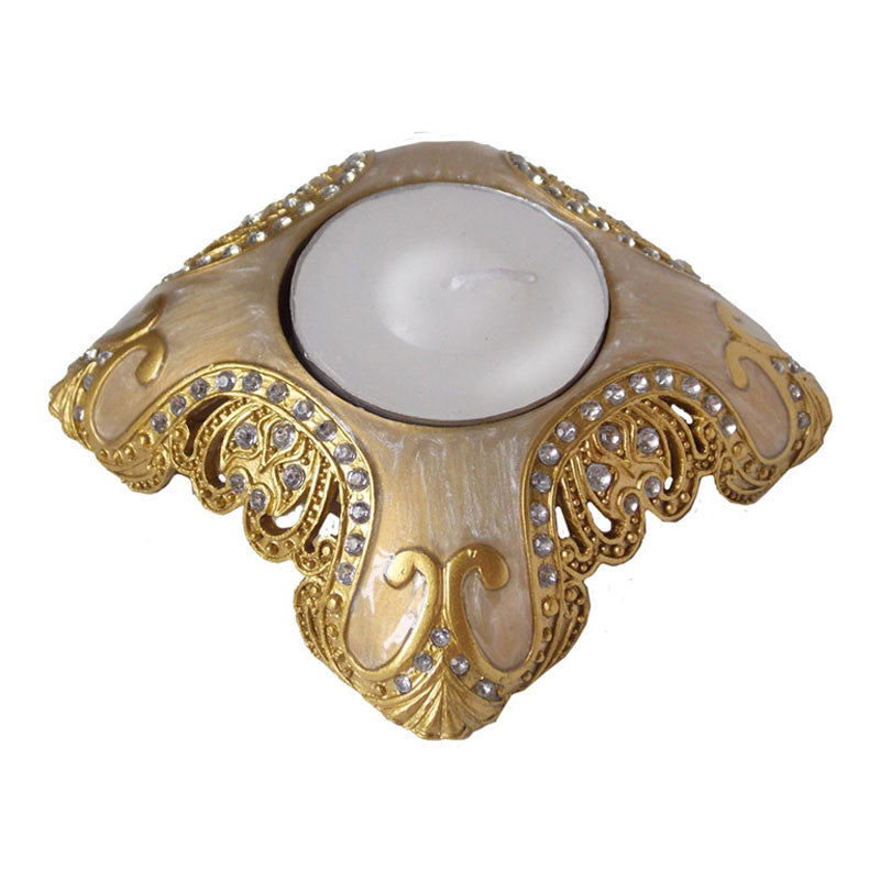 Golden tea light holder with jeweled accents. Rococo inspired design is expertly crafted. Great sympathy gift.