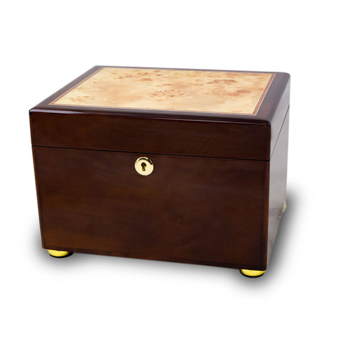 Wooden Cremation Urn and Memory Box - Burl and Cherry