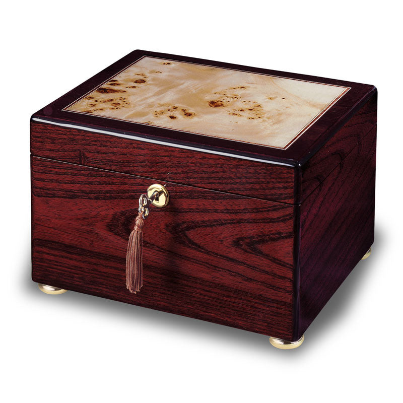Memorial chest featuring a high-gloss finish with contrasting inlaid burl on the top and velvet-lined interior.