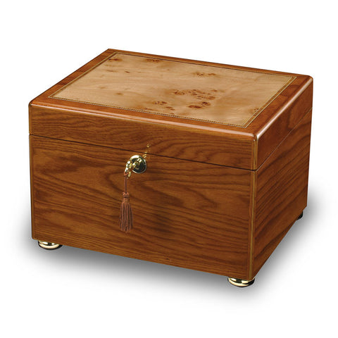Wooden Cremation Urn and Memory Box - Burl and Oak