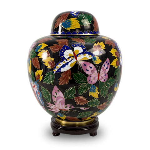 Butterfly Forest Cloisonne Cremation Urn