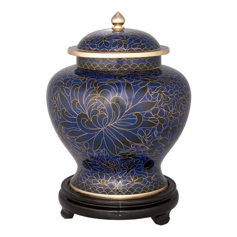 Royal Blue Cloisonne Cremation Urn