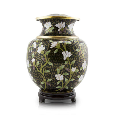Large Cremation Urn - Black Floral Cloisonne