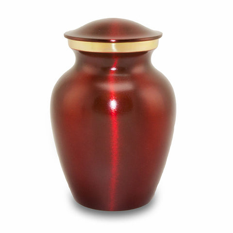 Medium Brass Crimson Pet Cremation Urn