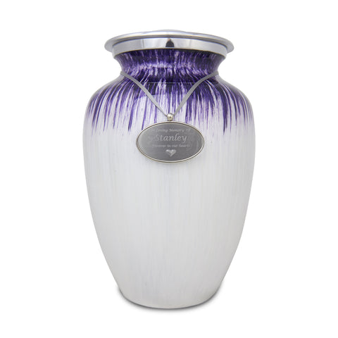 Extra Large Enamel Finished Metal Alloy Cremation Urn - Purple and White