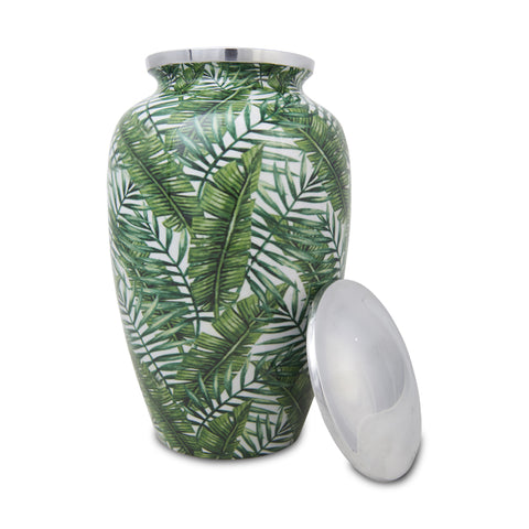 Large Enamel Finished Metal Alloy Cremation Urn - Bamboo Leaves