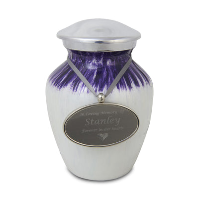 Small Enamel Finished Metal Alloy Cremation Urn - Purple and White