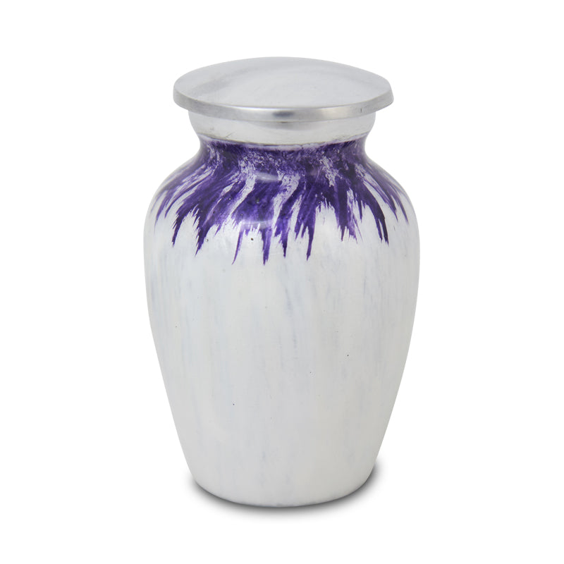 Enamel Finished Metal Alloy Cremation Keepsake Urn - Purple and White