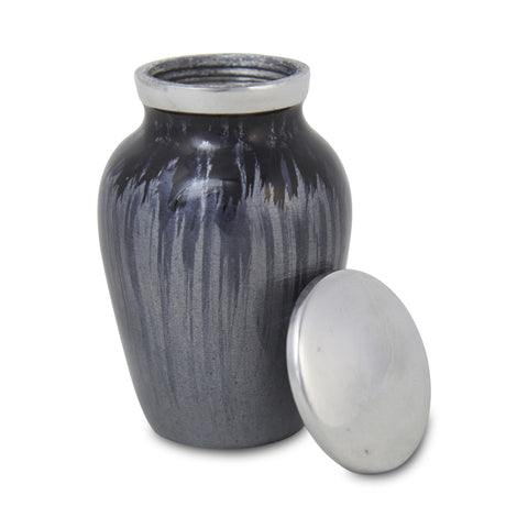 Enamel Finished Metal Alloy Cremation Keepsake Urn - Dark Blue