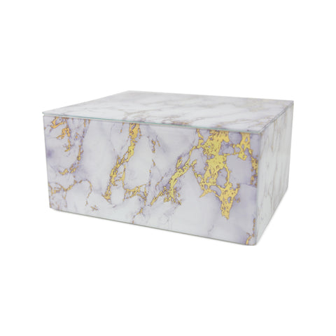 Modern Gold and White Marbled Glass Cremation Urn for Pets