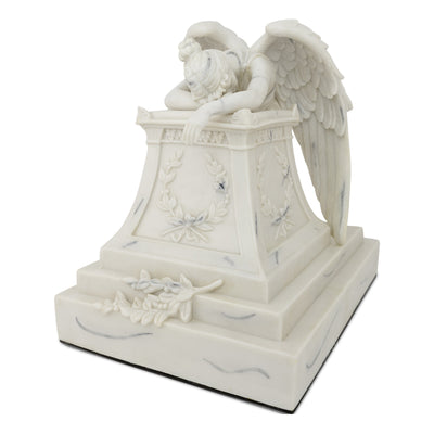 White Weeping Angel Cremation Urn - Large