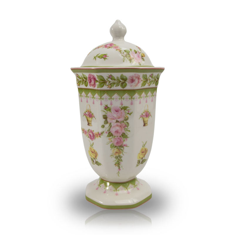 Pink and Yellow Tea Roses Ceramic Cremation Urn - Small