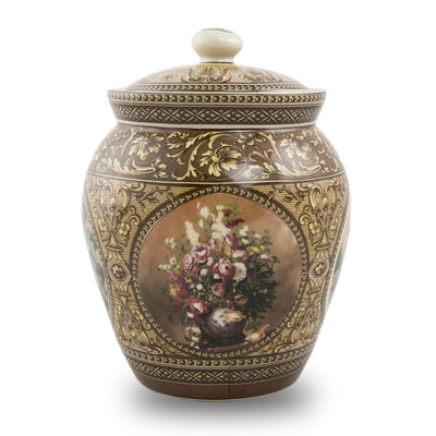 Victorian Filigree Ceramic Cremation Urn