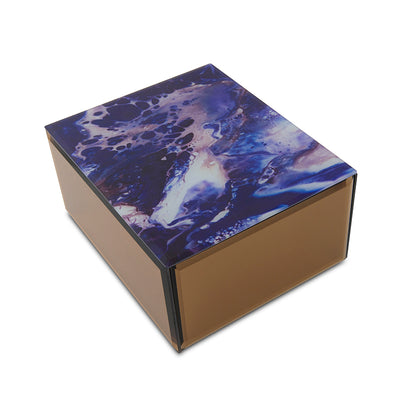 Modern Blue Galaxy Glass Cremation Urn Box - Large
