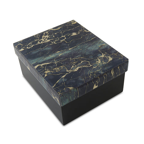 Modern Green and Black Marbled Glass Cremation Urn For Pets