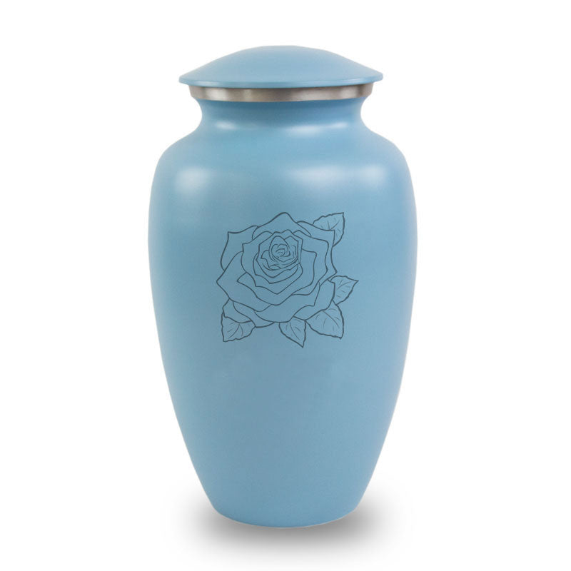 Rose Aluminum Cremation Urn- Blue