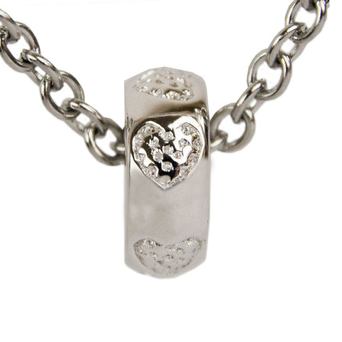 Heart Cremation Charm Bead - Sterling Silver