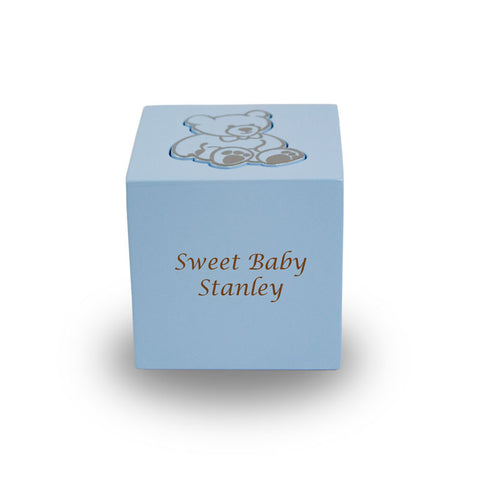 Baby Blue Teddy Bear Infant Cremation Urn