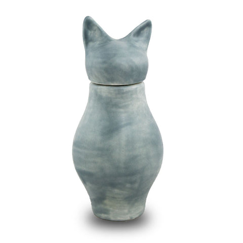 Ceramic Cat Cremation Urn - Bastet in Gray