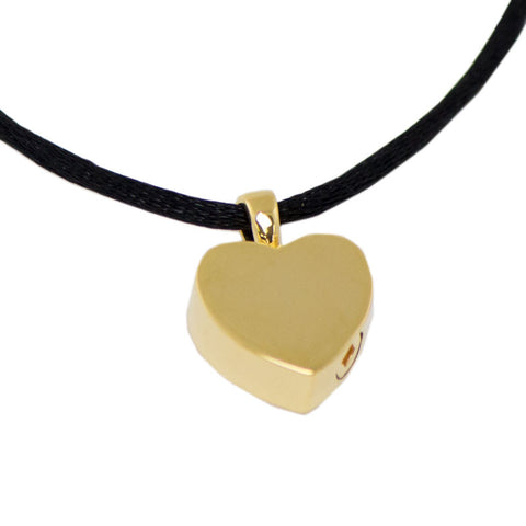 Gold Heart Cremation Urn Necklace