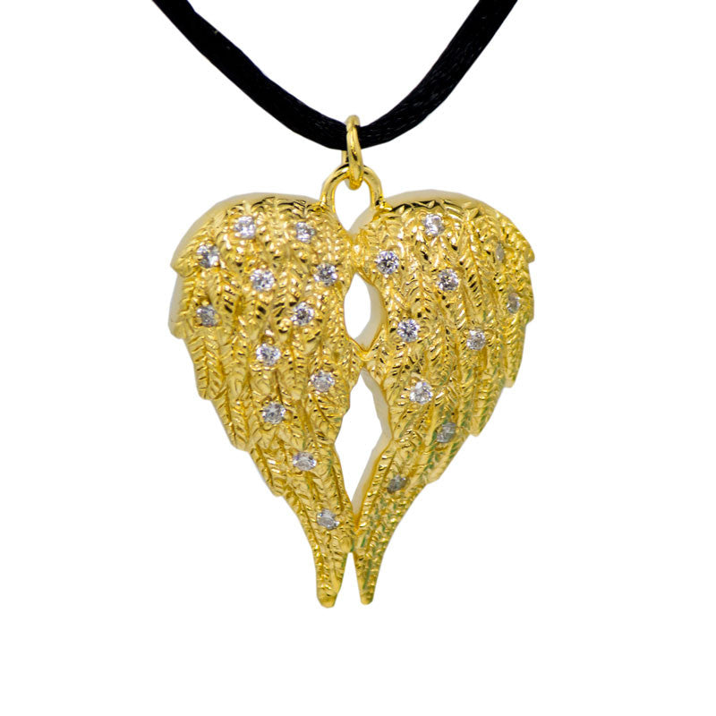 Gold Angel Wings Cremation Urn Pendant