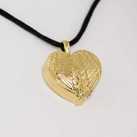 Gold Angel Wing Heart Cremation Pendant