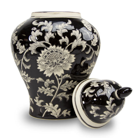Black Lotus Temple Ceramic Cremation Urn