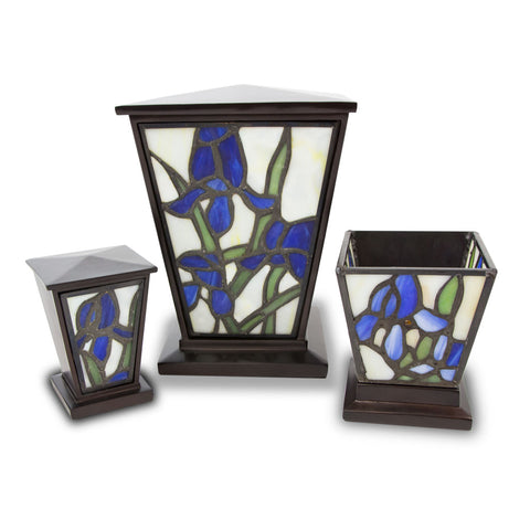 Blue Iris Stained Glass Cremation Urn Set - Medium
