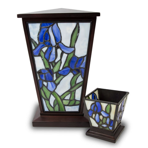 Blue Iris Stained Glass Cremation Urn Set