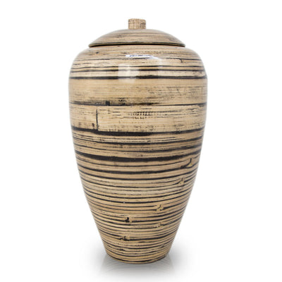 Tall Bamboo Cremation Urn- Black Lined Natural
