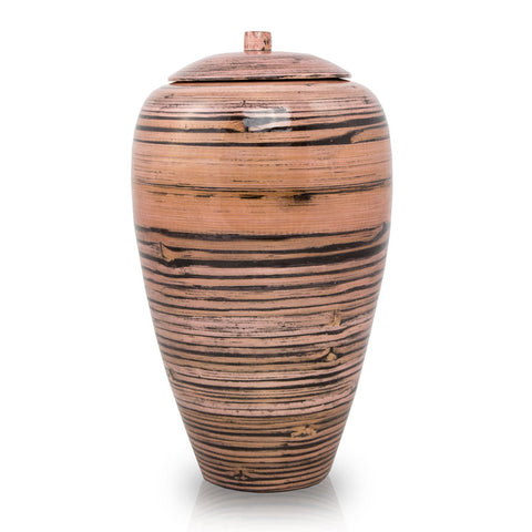 Tall Bamboo Cremation Urn- Black Lined Pink